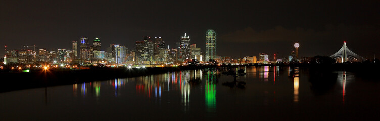 Dallas Skyline pano at night Reflecting in water