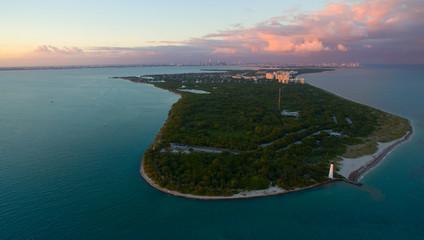 aerial views Sunset in Key Biscayne Florida