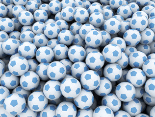 Soccer balls background. Large group of blue and white soccer balls