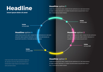 Infographic with Neon Circle