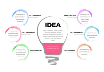 Infographic with 6 Sections and a Lightbulb Illustration