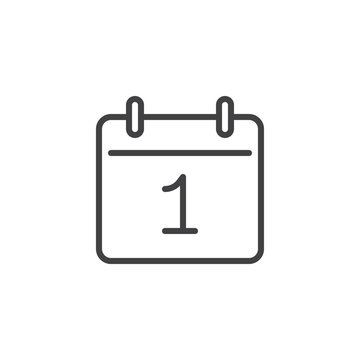 Day 1 calendar line icon. linear style sign for mobile concept and web design. Calendar date - day one outline vector icon. Reminder symbol, logo illustration. Pixel perfect vector graphics