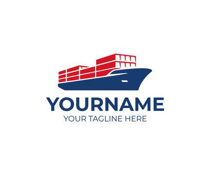 Cargo vessel ship logo design. Container ship vector design. Shipping boat logotype