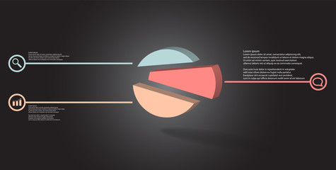 3D illustration infographic template with embossed circle randomly divided to three shifted parts