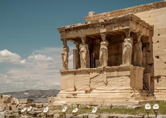 The Caryatids of the Erechtheion,  Acropolis, Athens, Greece.
