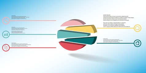 3D illustration infographic template with embossed circle randomly divided to five shifted parts