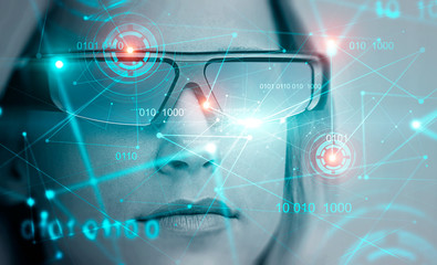 Blonde woman in AR glasses, binary code and hud