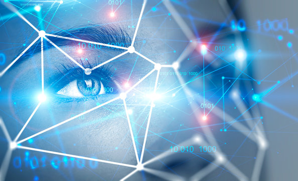 Young woman face, biometric verification