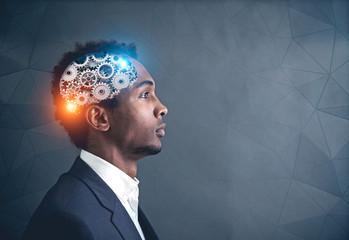 African American businessman, cog brain