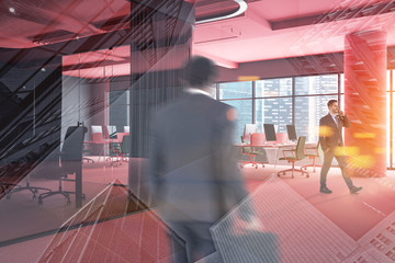People in pink open space office with meeting room