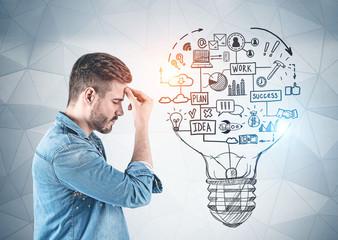 Casual man thinking, business idea