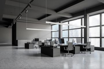 Loft gray open space office corner with closet
