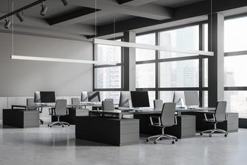 Loft gray open space office corner