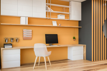 Yellow and gray home office corner
