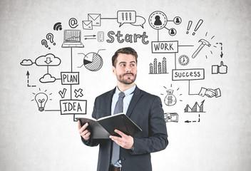 Businessman with planner, startup sketch