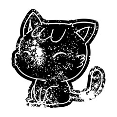 grunge icon of cute kawaii cat