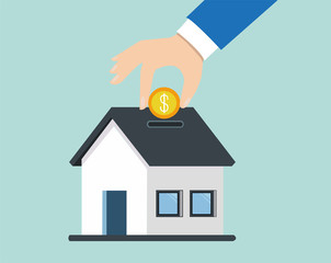 Vector of a hand dropping a coin in piggy bank house