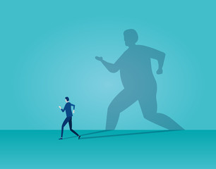 Vector of business man running away being frightened by his own shadow