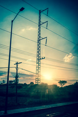 Sunset and power lines, Mexico