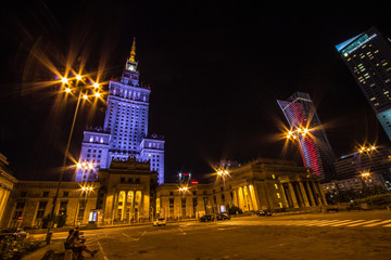 Palace of Culture and Science in warsaw at night