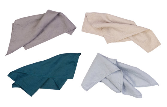 Linen napkins isolated on white background