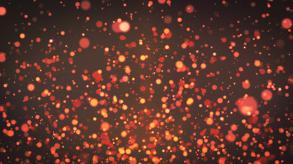 Orange & red particles background, dust particles with real lens flare. glitter lights. Abstract glitter background, gold bokeh background