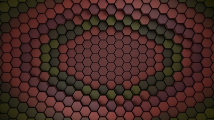 Wall Mural - red and green material hexagons background template. 3d Render