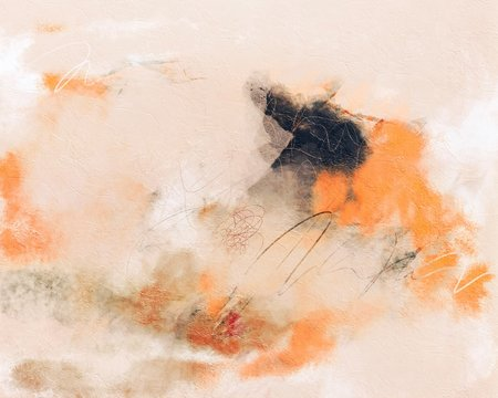 Abstract Orange and White Contemporary Painting Background