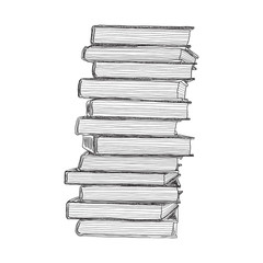Books hand drawn sketch. Vector illustration.