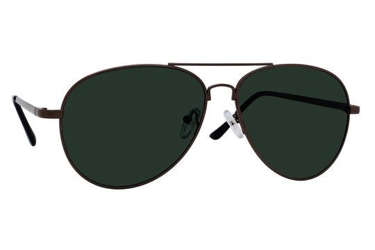 Black aviator sunglasses isolated on white background