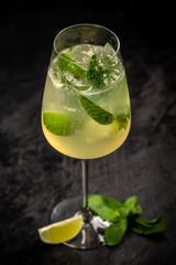 Glass of Hugo cocktail