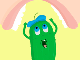 the french cucumber fearfully shouts with his hands up and above him hung a huge mouth of a person