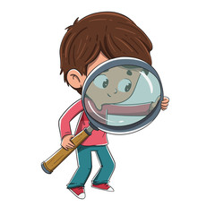 Niño con una lupa buscando algo
