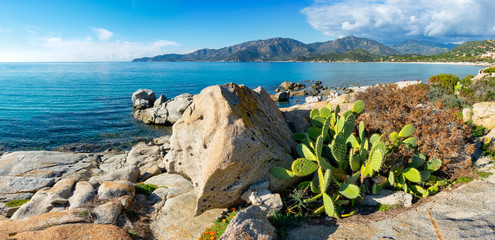 Panoramic view of Villasimius coast and sea, a little town on the south of Sardinia.