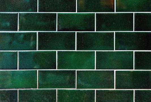 green subway wall tile