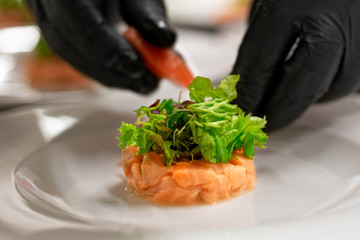 Preparation of marinated salmon starter with salad.