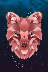 Abstract linear polygonal head of a fox on dark background. Gradient geometric animal red color. Vector illustration