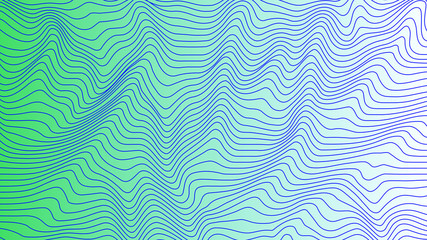Green colorful curvy geometric lines wave pattern texture on colorful background. Wave Stripe Background. Abstract background with distorted shapes. Illusion of movement, op art pattern.