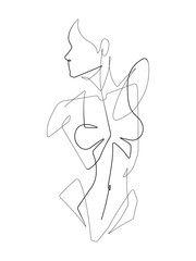 Stores à enrouleur One Line Art Female Figure One Continuous Line Vector Graphic Illustration