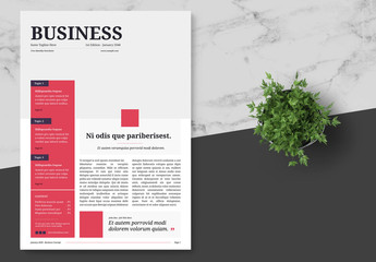 Business Newsletter with Red Accents