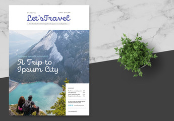 Travel Newsletter with Blue Accents