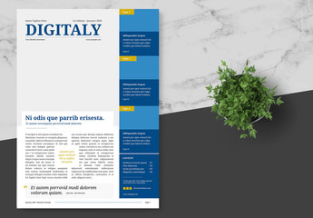 Business Technology Newsletter with Blue  Accents