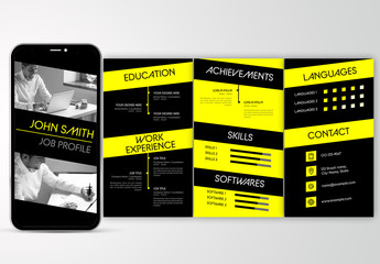 Mobile Resume Layout with Black and Yellow Accents