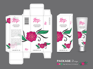 Pink Cosmetic Packaging Template, Rose background1
