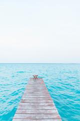 Mexiko, Yucatan, Quintana Roo, lagoon of Bacalar, jetty leading into water