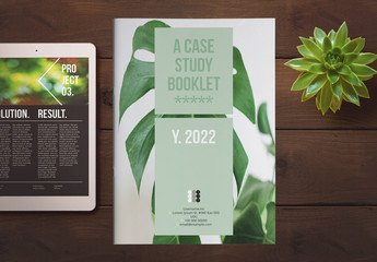 Case Study Booklet Layout with Green Accents