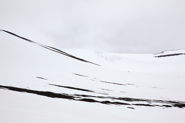 Black and white image of the mountains of Svalbard in Norway. Abstract texture