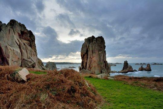 Magnifique paysage de mer en Bretagne à Plougrescant