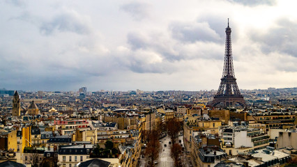 Aerial view of Paris and Eiffel Tower