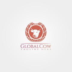 Cow farm icon template, cattle farm symbol, global cow , creative vector logo design, livestock, animal husbandry, illustration element